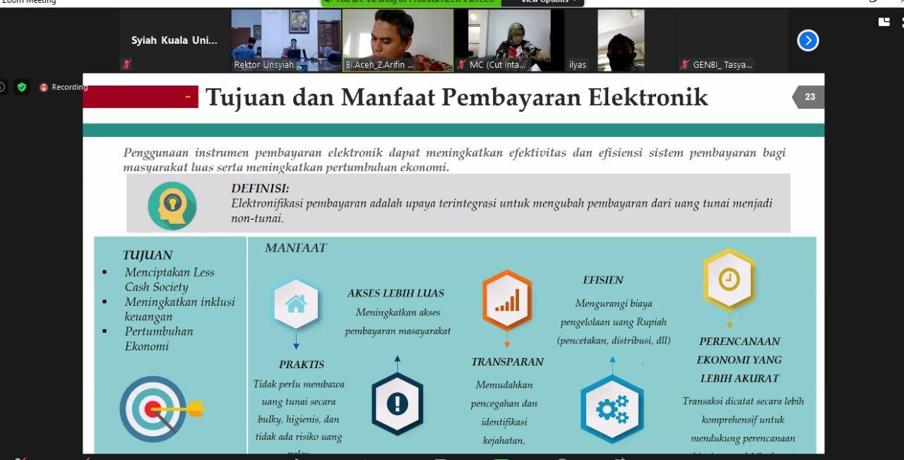 Webinar Bersama Universitas Syiah Kuala dengan Kantor Perwakilan Bank lndonesia Aceh